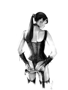 erotic artwork, corset, flogger