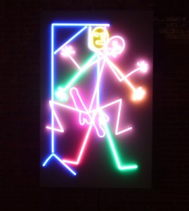 neon lights, art, stick figure human, bruce nauman dia beacon