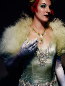 ADRIAN BUCKMASTER portraits, women with fur bomber and diamond gloves