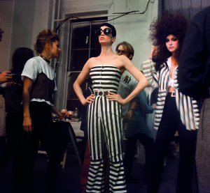 isaac mizrahi fashion, woman in striped jumpsuit