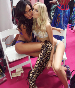 joan smalls, models kissing in bra and panties