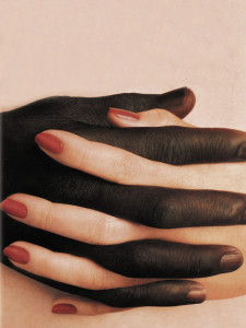 provocative posters, holding hands, black and white, interlaced fingers