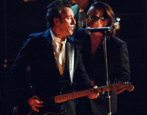 Bruce Springsteen, presenter, with Bono of U2, inductee (Photo by Jeff Kravitz/FilmMagic)