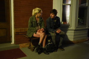 being charlie movie, Nick Robinson and morgan saylor sitting and talking on a bench