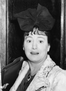 dorothy parker black and white portrait of her with a big bow on her head