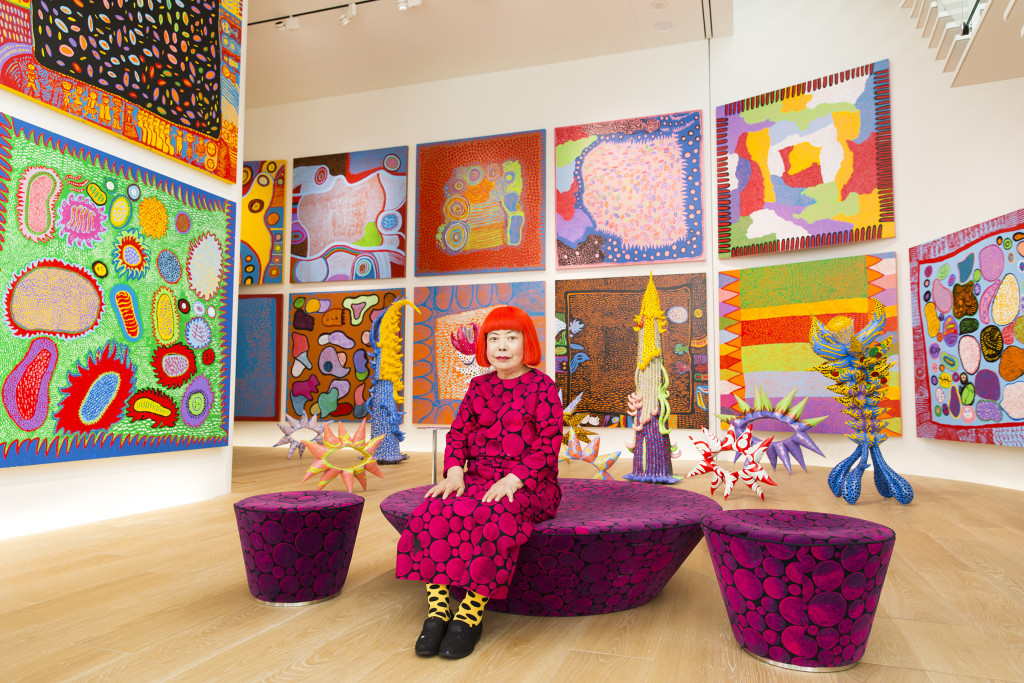 Yayoi Kusama with recent works in Tokyo (2016) Photo by Tomoaki Makino, image courtesy of the Hirschhorn Mueum