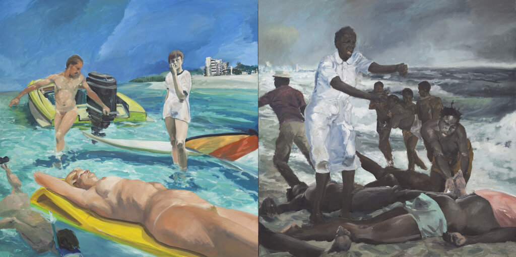 A Visit To/A Visit From/The Island (1983) by Eric Fischl. Oil on canvas 84 × 168 inches. Purchase with funds from the Louis and Bessie Adler Foundation Inc., Seymour M. Klein, President.