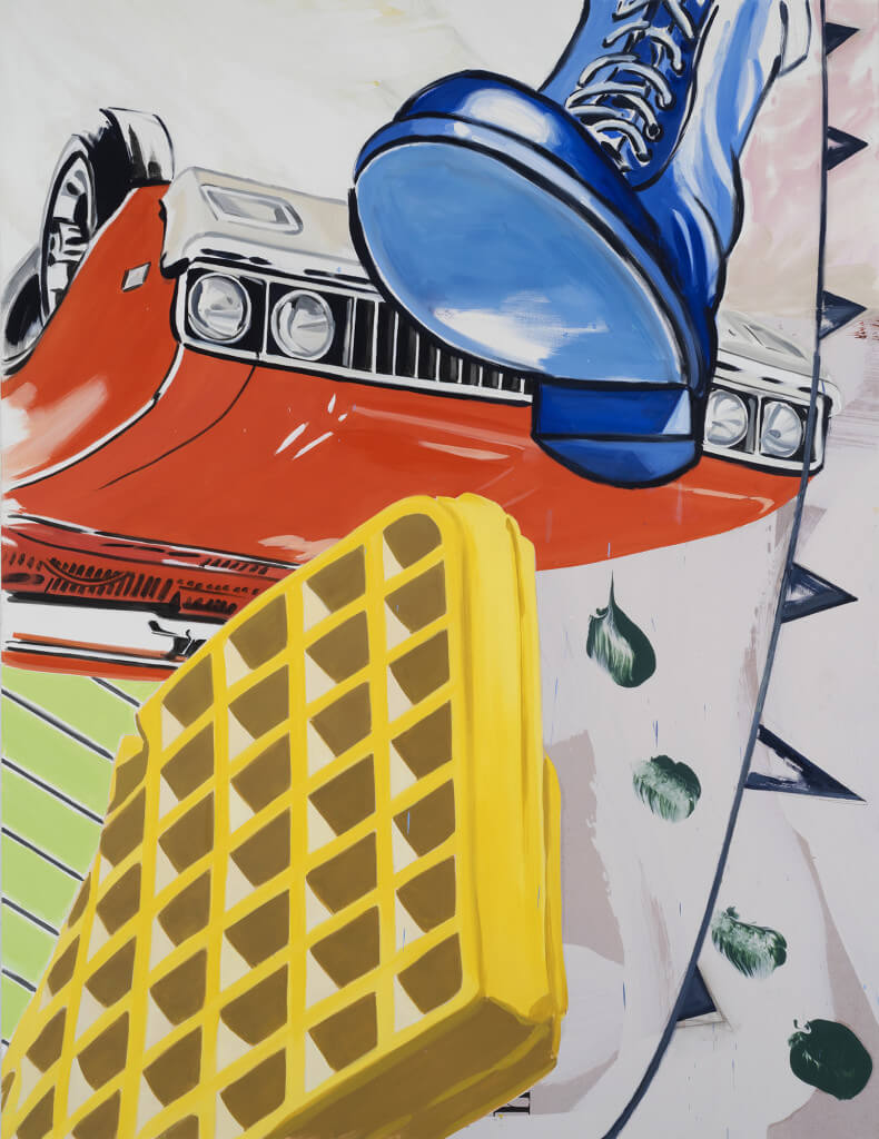 Big Boot (2016) by David Salle. Oil, acrylic, and archival digital print mounted on linen, 78 x 60 inches. Courtesy Galerie Thaddaeus Ropac © David Salle, licensed by Vaga, New York, 2017 Photo: John Berens Photography, New York.