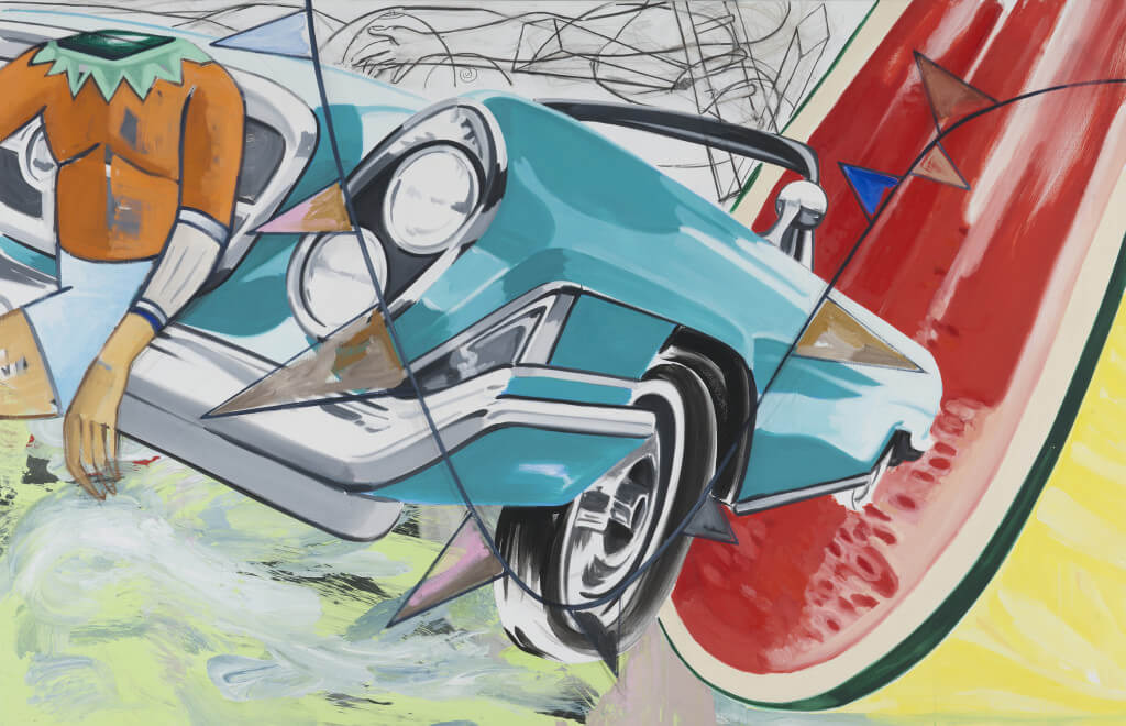 The Acrobat (2016) by David Salle. Oil, acrylic, charcoal, and archival digital print mounted on linen, 59,5 x 92 inches. Courtesy Galerie Thaddaeus Ropac © David Salle, licensed by Vaga, New York, 2017 Photo: Charles Duprat, Paris.