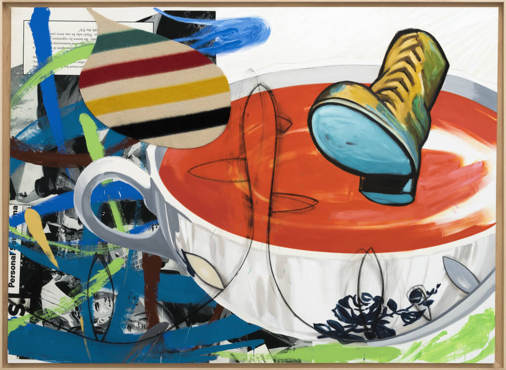 Lunchtime (2016 ) by David Salle. Oil, acrylic, flashe, charcoal, oil stick, fabric and archival digital print mounted on linen, 84 x 114 inches. Courtesy Galerie Thaddaeus Ropac © David Salle, licensed by Vaga, New York, 2017 Photo: Charles Duprat, Paris.