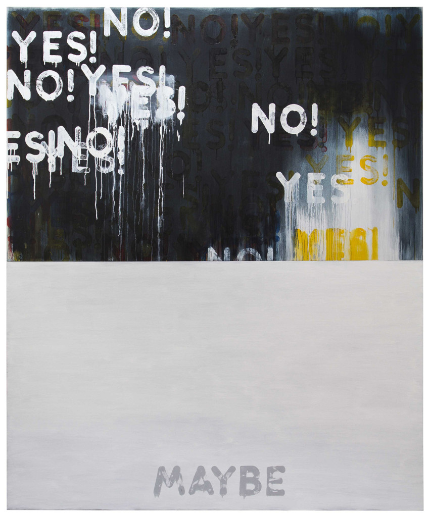 Yes!/No! Maybe (2016). oil on canvas, in two parts each: 48 1/8 x 80 1/8 inches. overall: 96 1/4 x 80 1/8 inches.