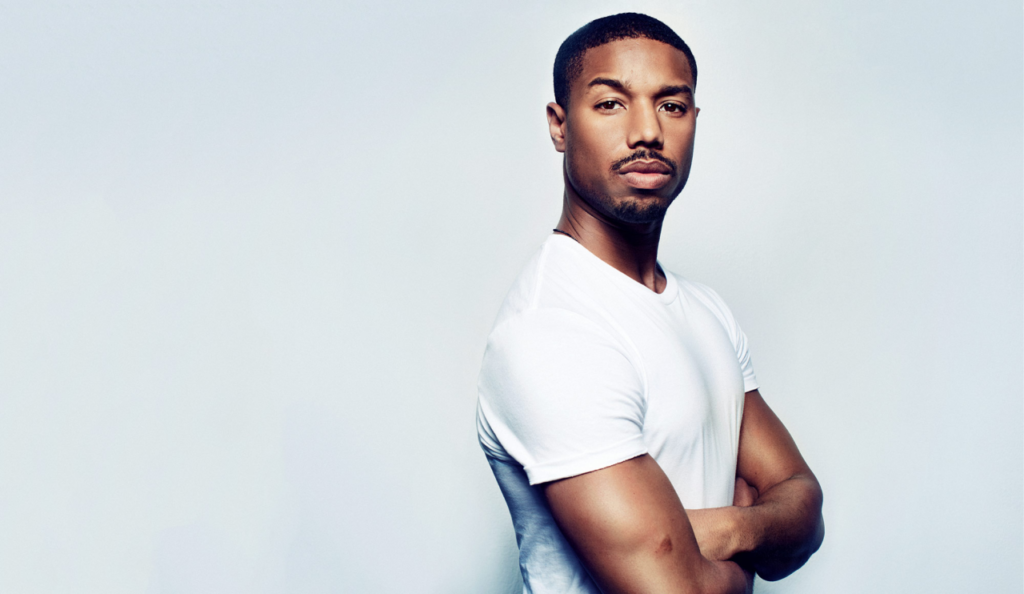 Michael B Jordan Wearing a Classic White T-Shirt