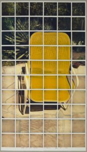 "David Hockney ""Yellow Chair with Shadow Los Angeles April 18th 1982"" Composite polaroid 35"" x 20"" © David Hockney Photo Credit: Richard Schmidt"
