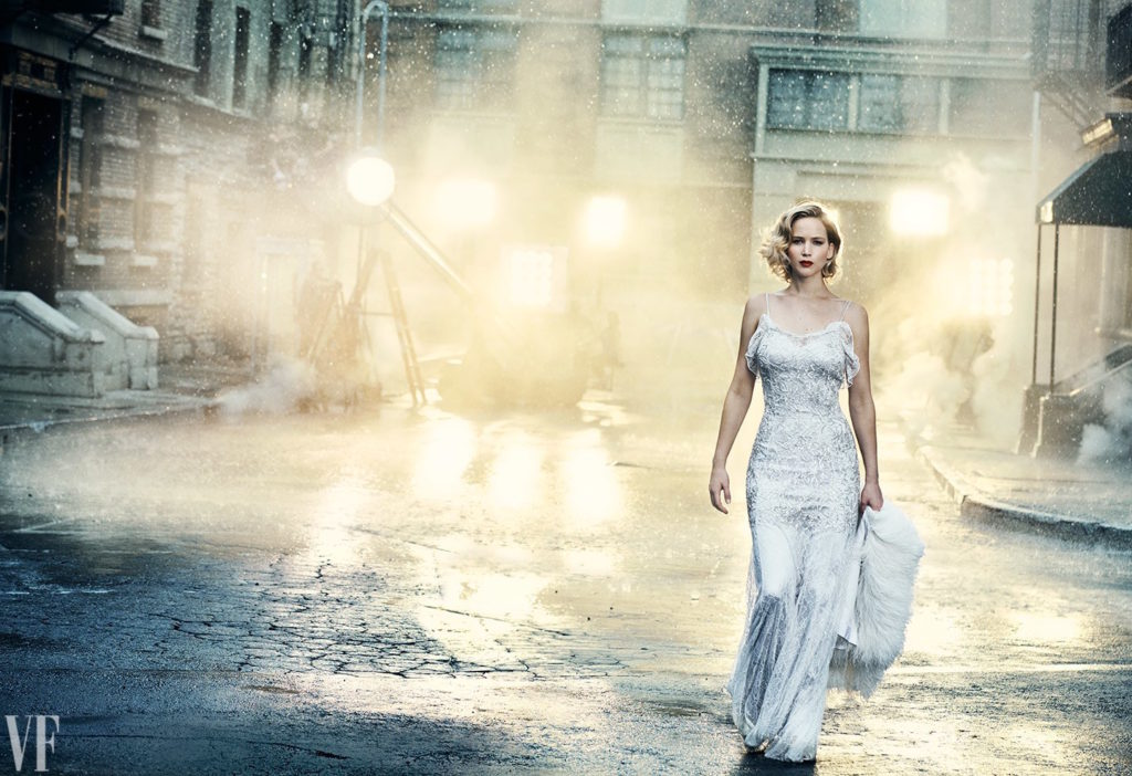 Jennifer Lawerence night street in white gown