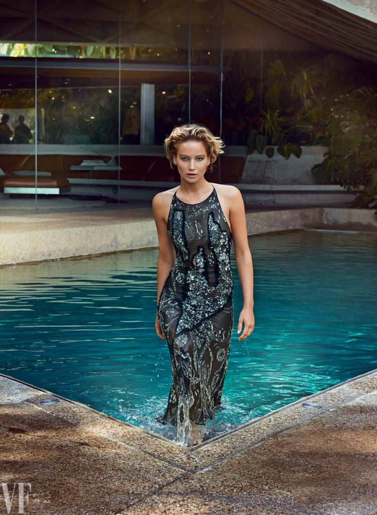 Jennifer Lawrence wearing dress walking out of pool