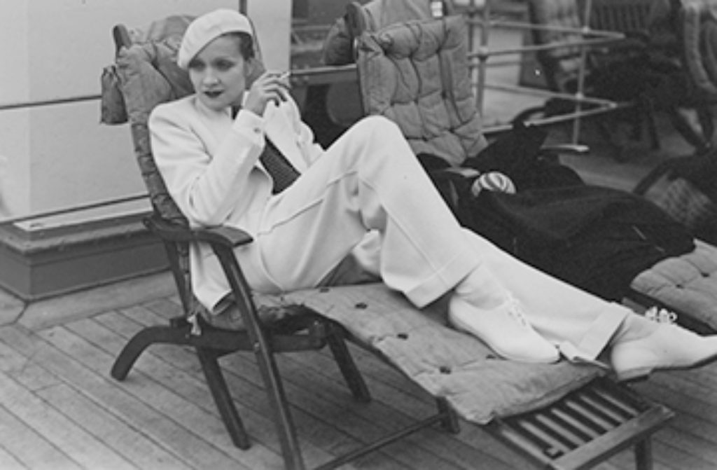marlene dietrich white suit lounge chair