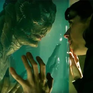 Shape of Water touching through glass