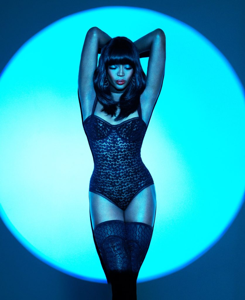 Naomi Campbell Shot in Blue Stage LIght