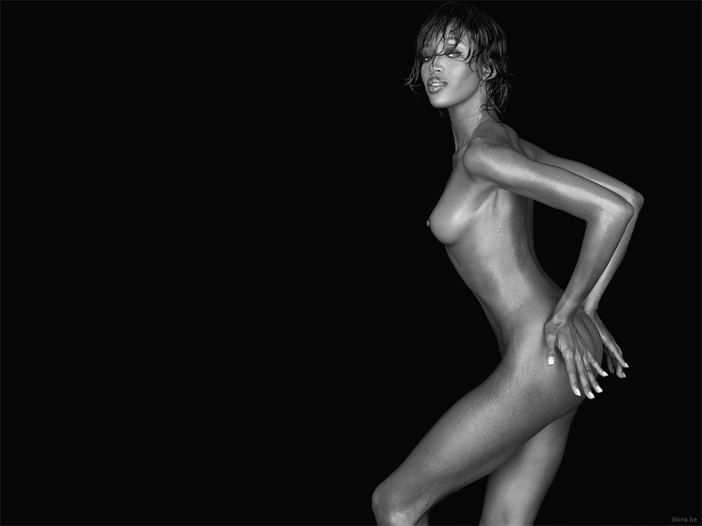 Black and white photograph of Naomi Campbell Nude Side Angle