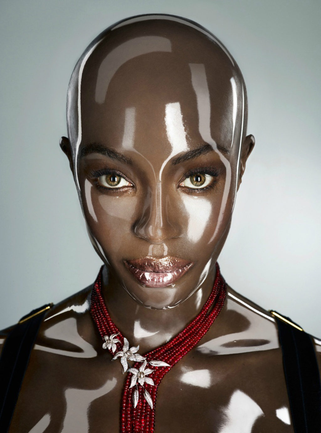 Naomi Campbell Bald in a Clear Plastic Mold