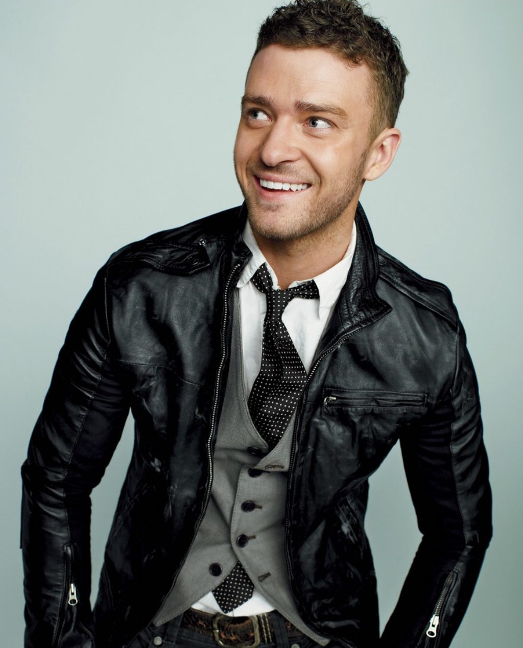Justin Timberlake Wearing William Rast Black Leather Jacket, Vest and Tie