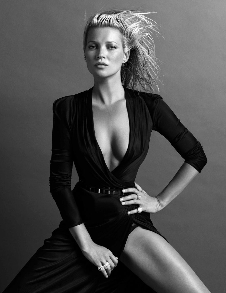 Kate Moss low cut black slit dress