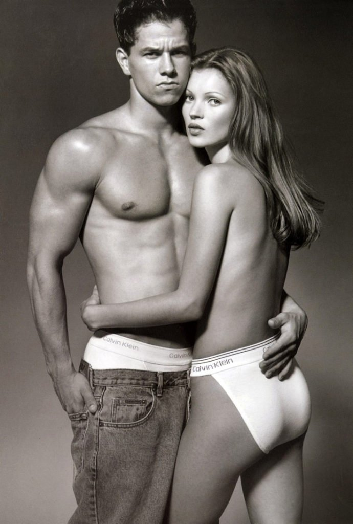 Kate Moss and Mark Wahlberg calvin klein fashion pose