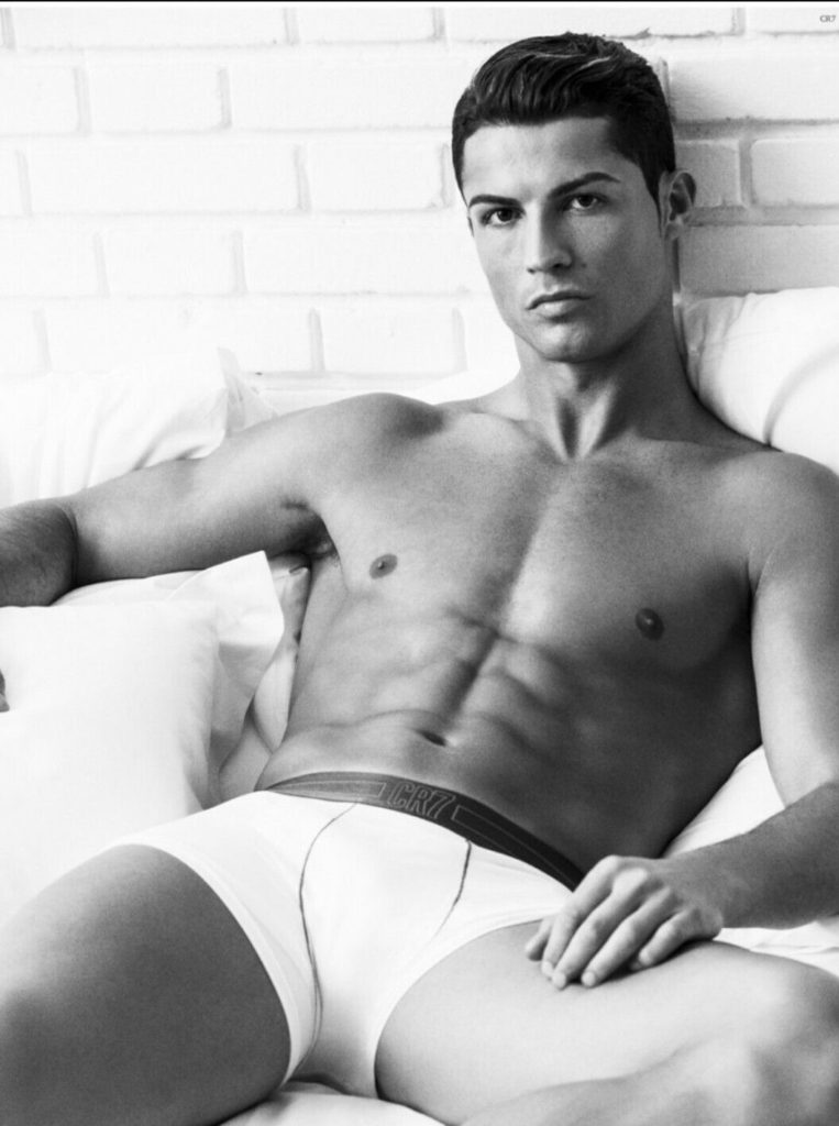Cropped Black and White Photograph of Footballer Champion Cristiano Ronaldo wearing white Cristiano Ronaldo tight white boxer underwear