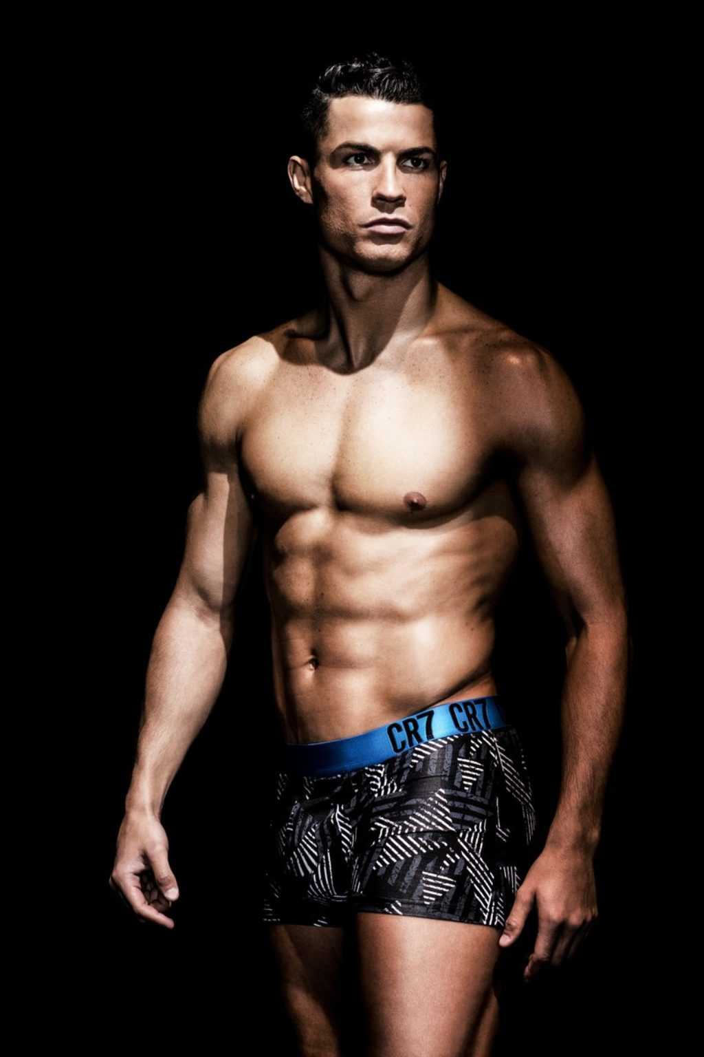 Hero shot of Cristiano Ronaldo CR7 underwear with blue border and black trunks