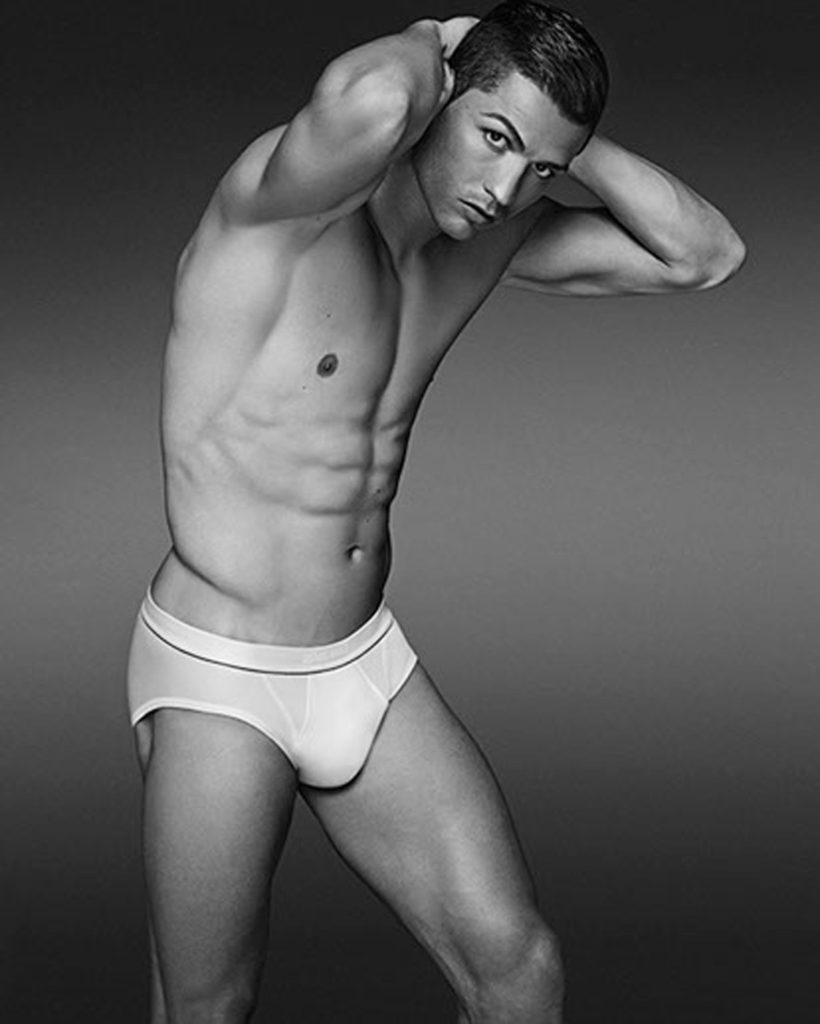 Black and white photograph of Soccer Star Cristiano Ronaldo wearing sexy white CR7 briefs