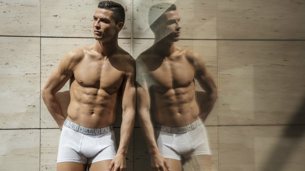 Double image of Cristiano Ronaldo wearing tight white boxer shorts