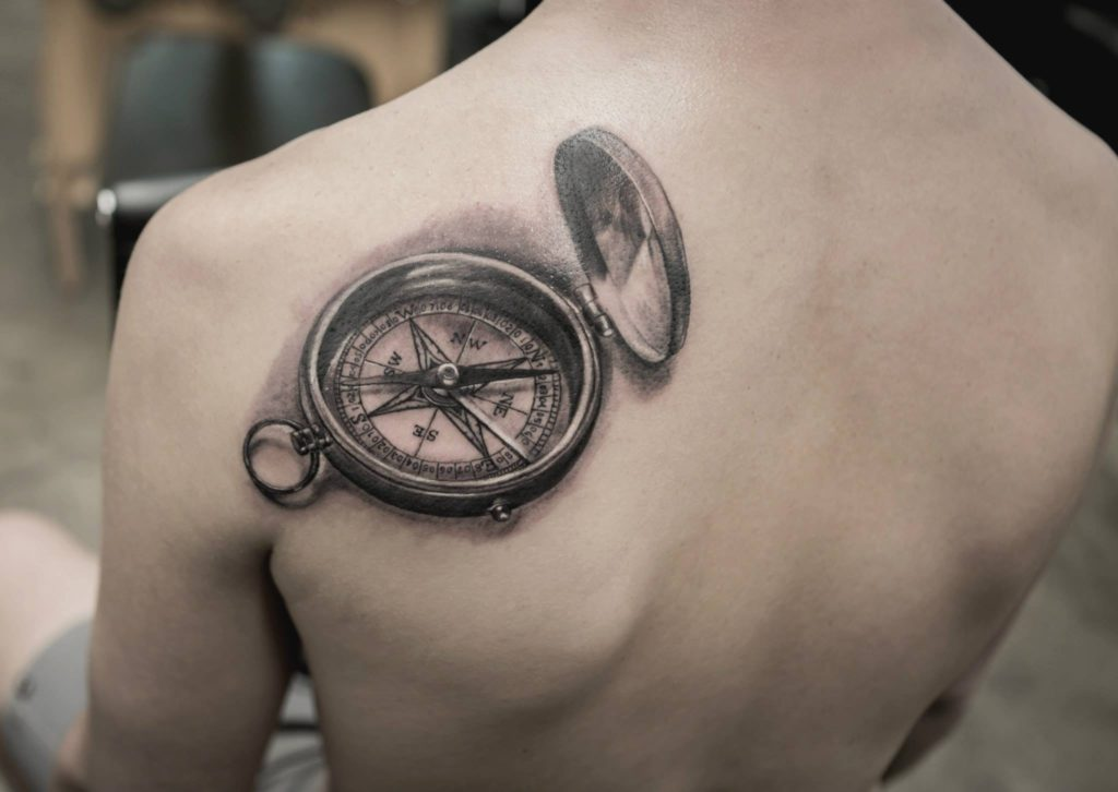 One of the most amazing tattoos by tattoo artist bang bang of a compass that looks three dimensional