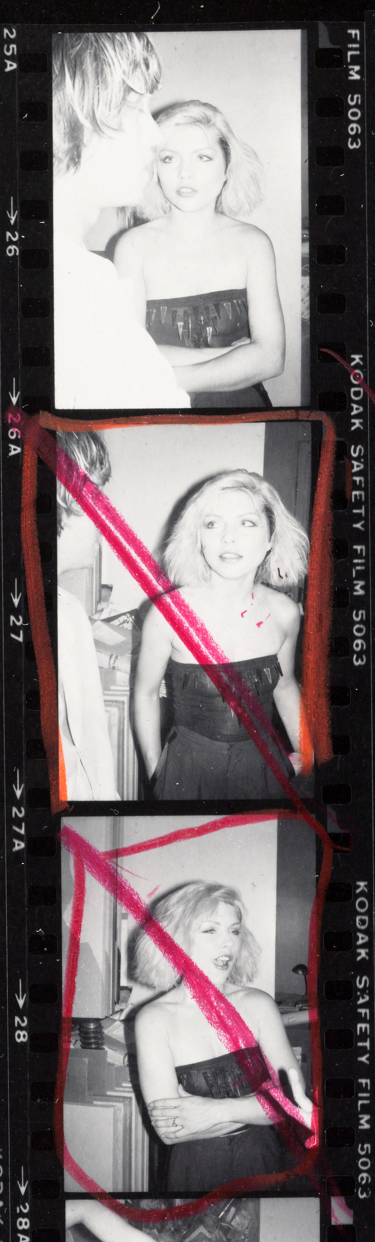 Andy Warhol contact sheet with debbie harry, chris stein