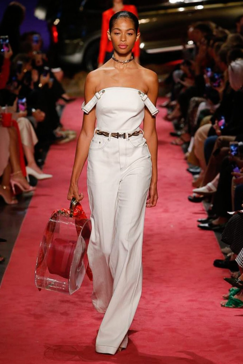B Maxwell 2019 Spring Summer Collection Runway Model Wearing White Jeans