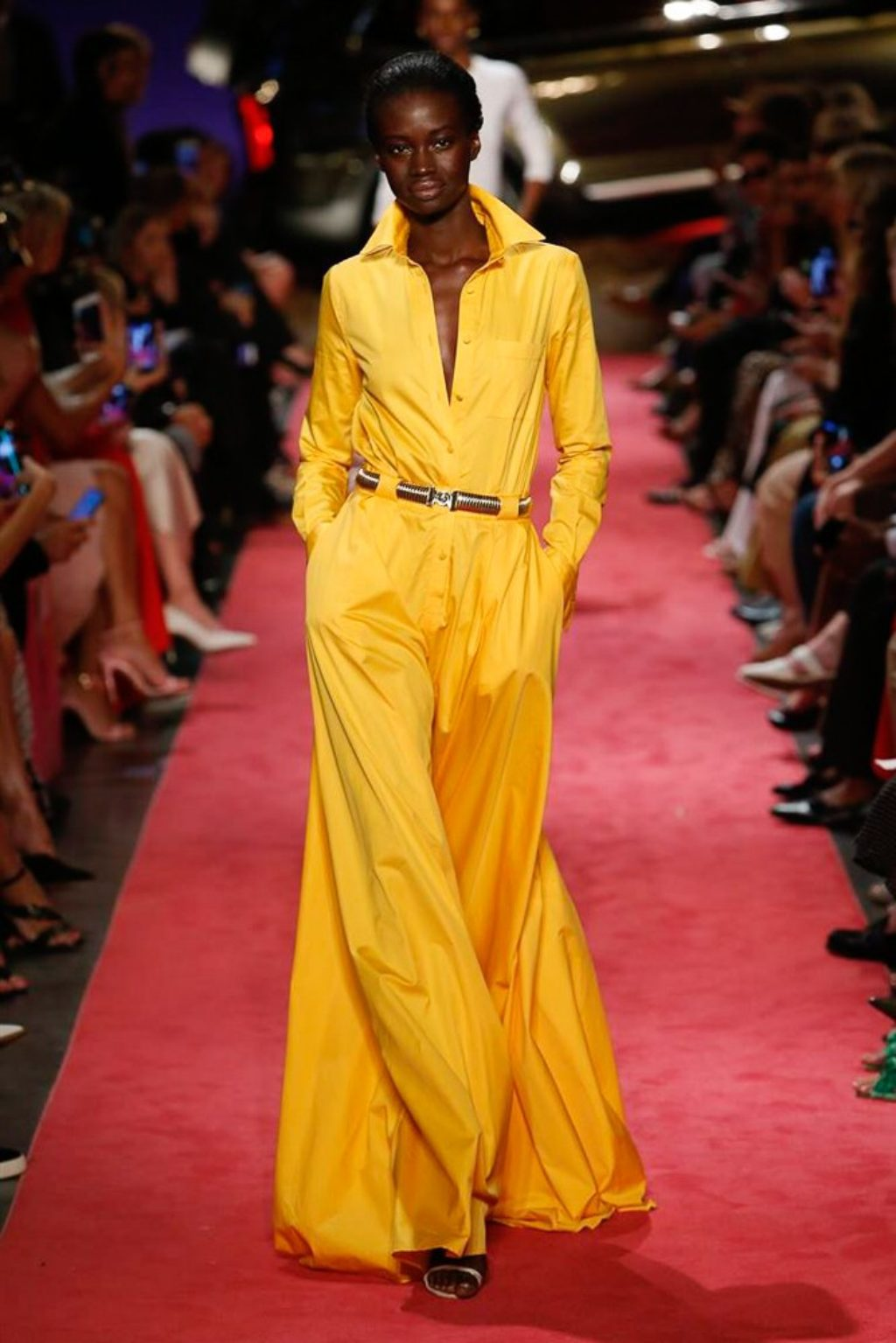 B Maxwell Collection Spring Summer 2019 Runway Model Wearing Yellow to and flowing pants