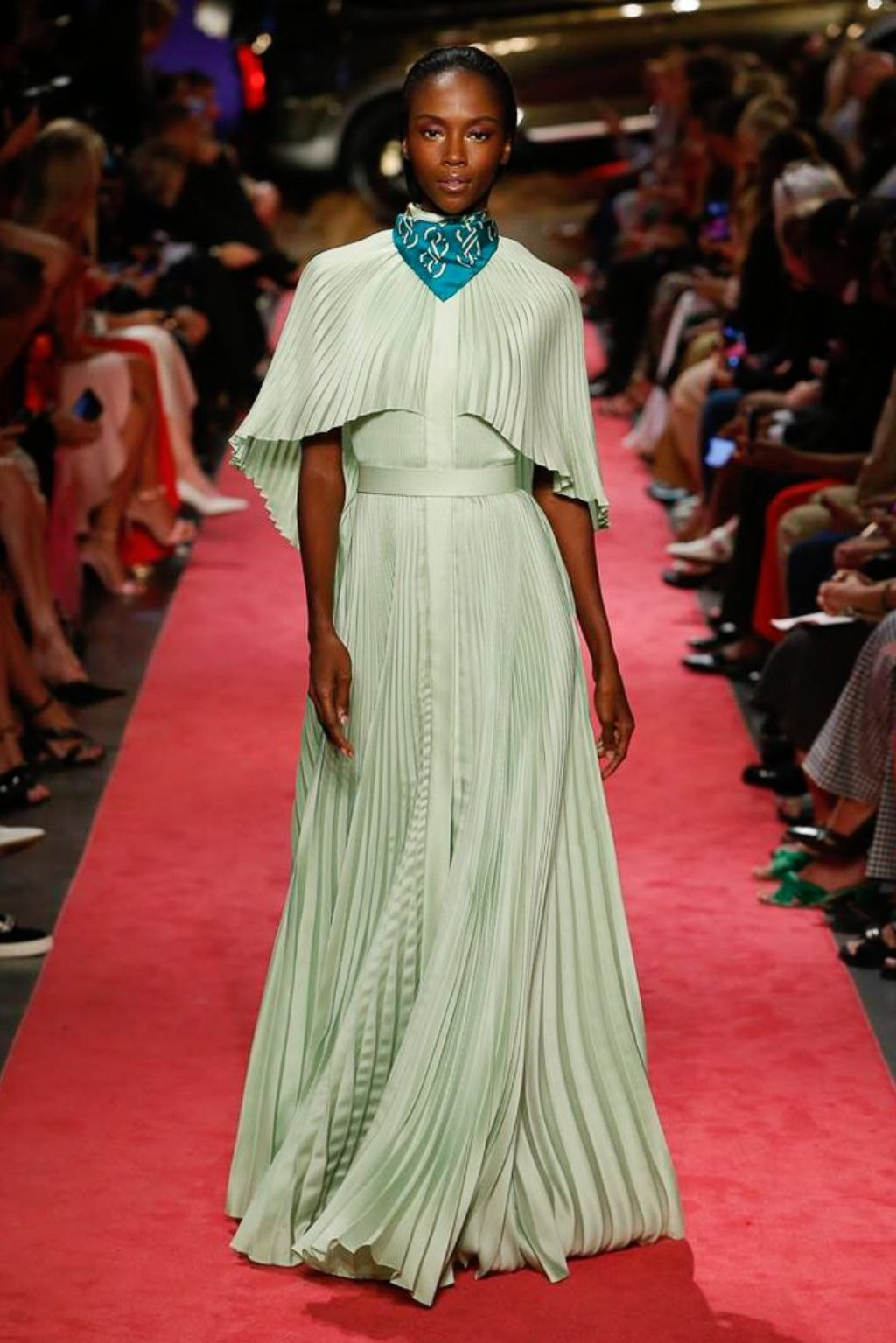 B Maxwell 2019 Spring Summer Collection Runway Model in Sea-Foam Green Flowing Dress