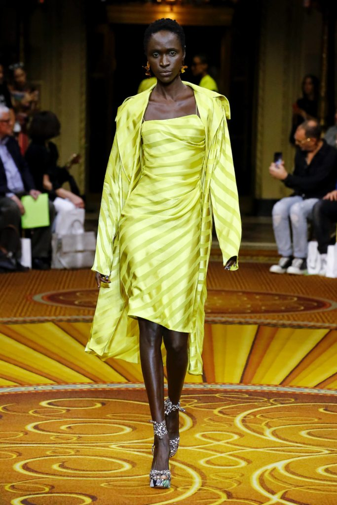 Christian Siriano 2019 Spring Summer Collection Runway Model Wearing Yellow Striped Dress