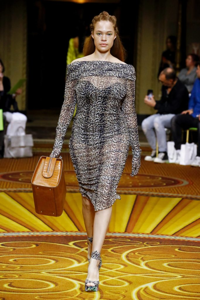 Christian Siriano Spring Summer 2019 Collection Plus Size Model Wearing Animal Print Dress Carrying Large Bag