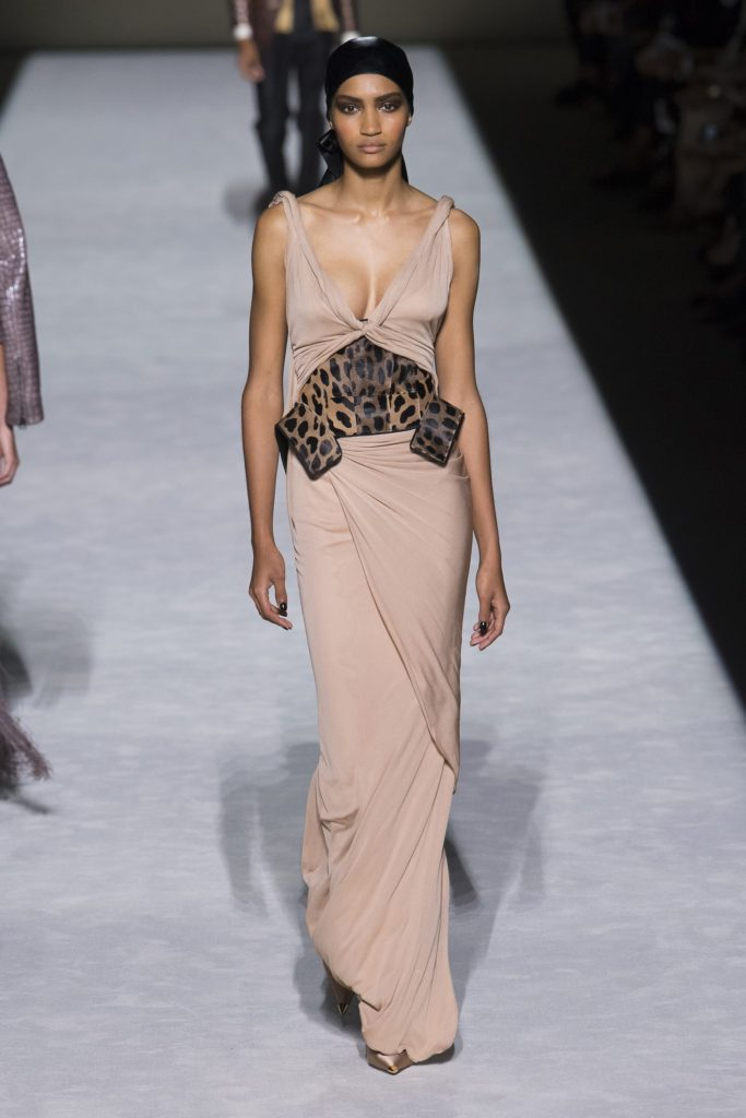 Tom Ford Collection Spring Summer 2019 Runway Model wearing sexy beige wrap dress with leopard flourishes