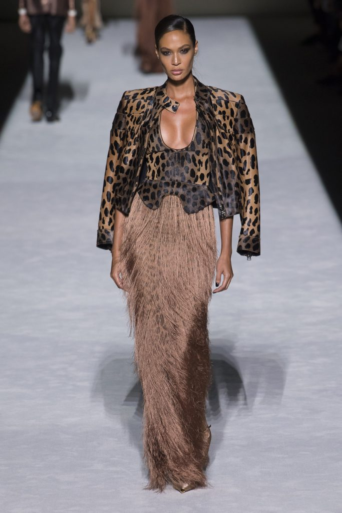 Tom Ford Spring Summer 2019 Runway Model Wearing a sexy low cut leopard top