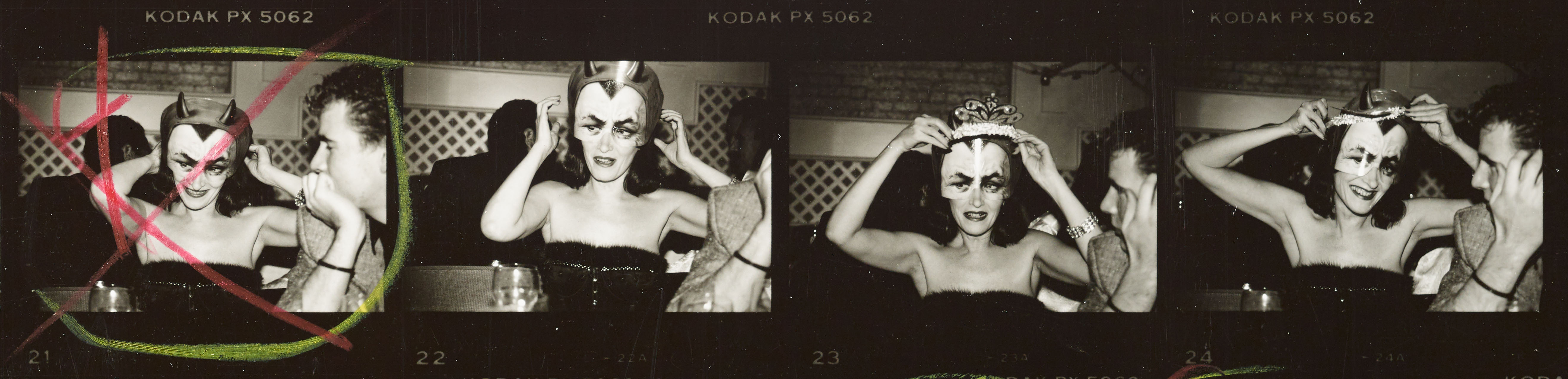 Andy Warhol contact sheet woman in marie antoinette mask