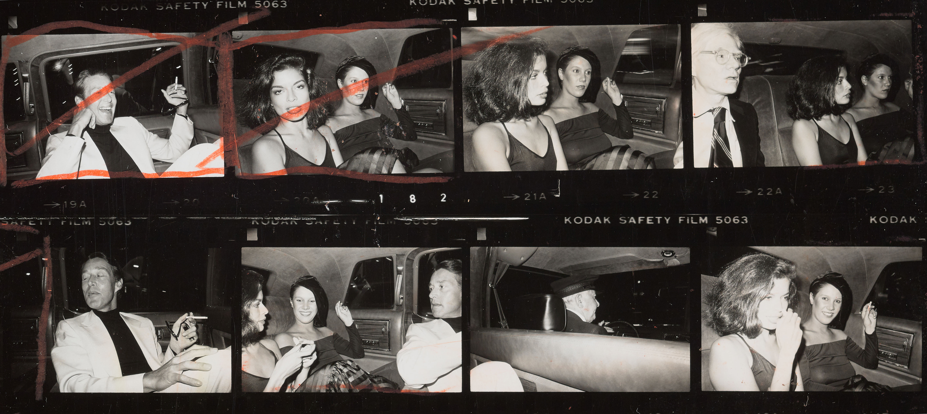 Andy Warhol contact sheet with celebrities in limousine