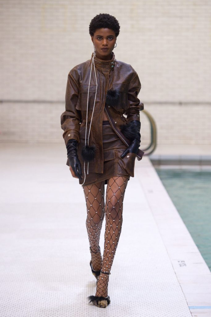 Fishnet and leather runway
