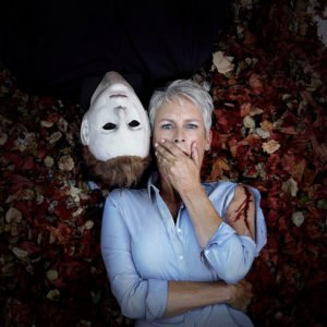 Jamie Lee Curtis and The Shape in A Publicity Still For Halloween 2018