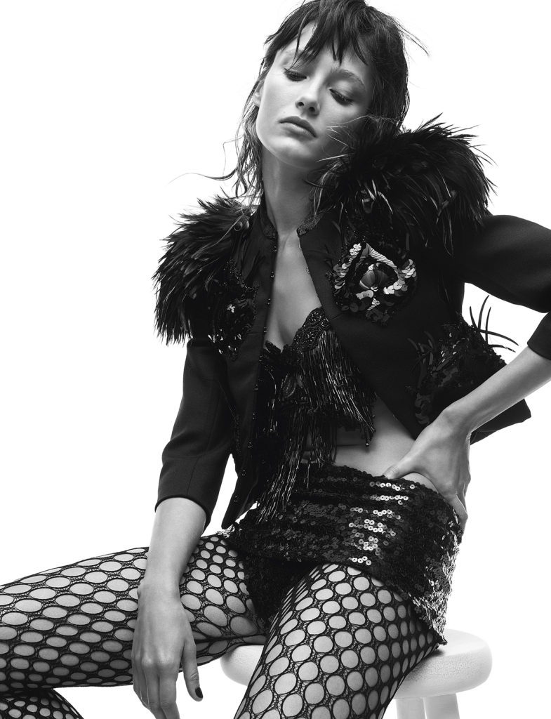 Fishnet stockings and fur