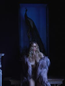 Naked Women Loosely Draped with a Lilac Fur Wrap