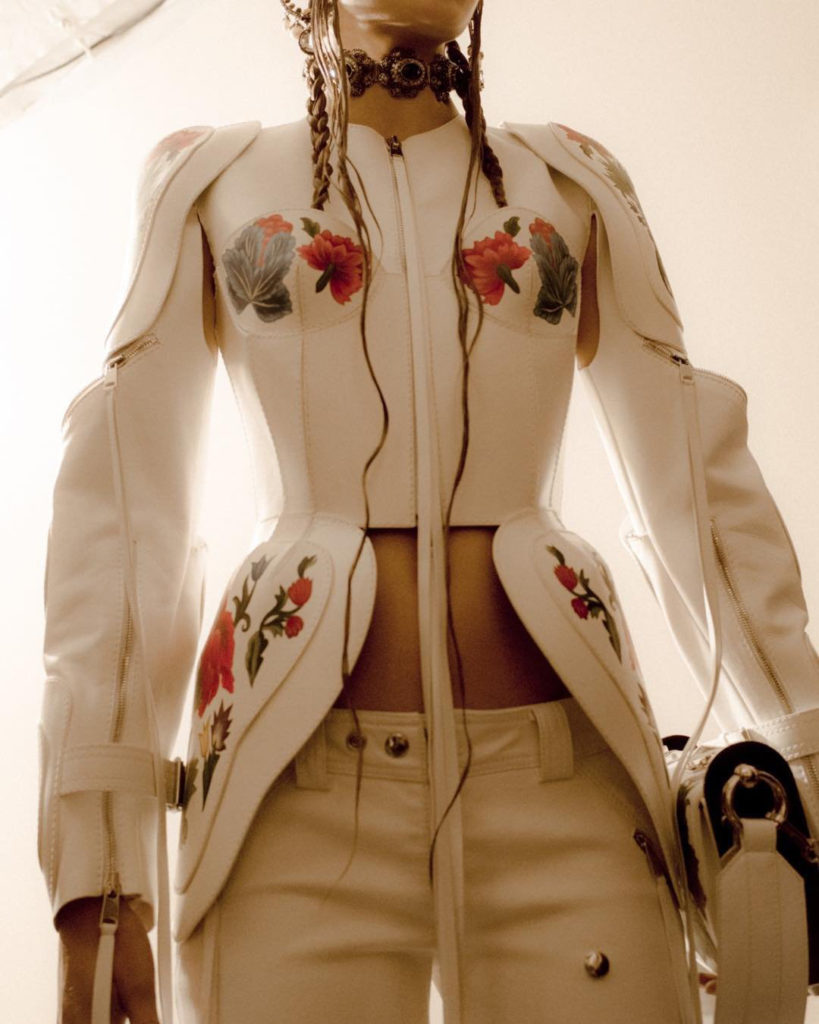 Alexander McQueen ivory floral leather jacket