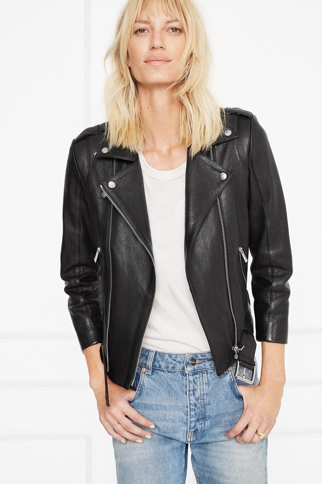 Annie Bing Wearing a Leather Motorcycle Jacket