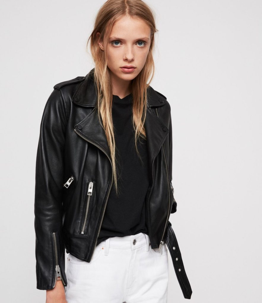 Young Female Model Wearing All Saints Black Leather Motorcycle Jacket