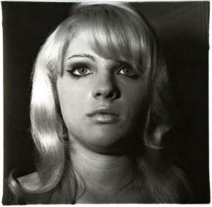 photograph of a blonde woman taken by Diane Arbus